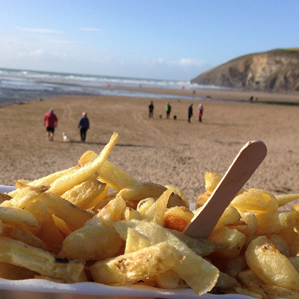 chip shop chips on a beach